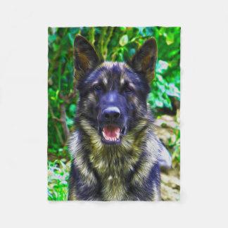German Shepherd Oil Painting Portrait Fleece Blanket
