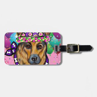 German Shepherd Party Dog Luggage Tag