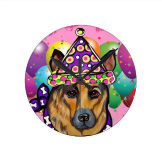 German Shepherd Party Dog Round Clock