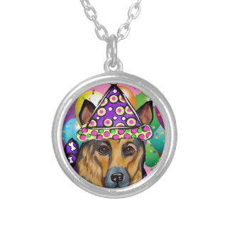 German Shepherd Party Dog Silver Plated Necklace