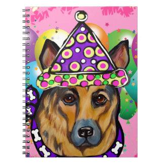 German Shepherd Party Dog Spiral Notebook
