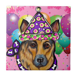 German Shepherd Party Dog Tile