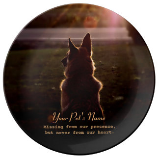 German Shepherd Pet Loss Memorial Plate Porcelain Plate