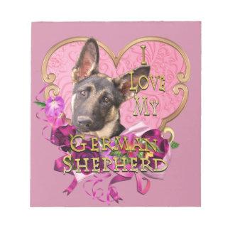 German Shepherd Pink Heart Love My Shep Notepad