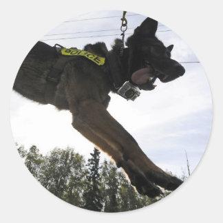 German Shepherd Police Dog Training Round Stickers