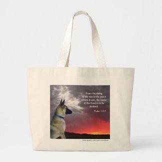 German Shepherd Psalm 113:3 Jumbo Tote Bag