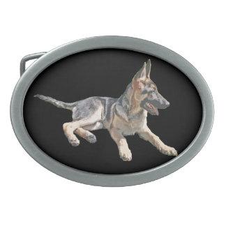 German Shepherd pup Oval Belt Buckle