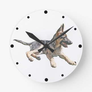 German Shepherd pup Round Clock