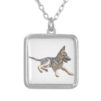 German Shepherd pup Silver Plated Necklace