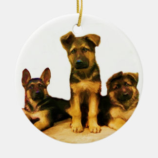 German Shepherd puppies ornament