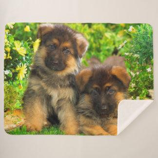 German Shepherd Puppies Sherpa Blanket