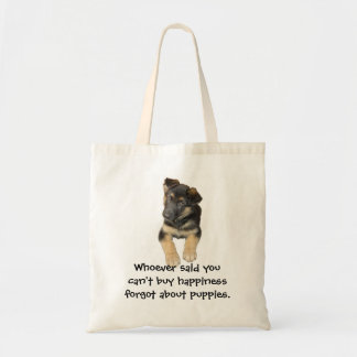 German Shepherd Puppy and saying Tote