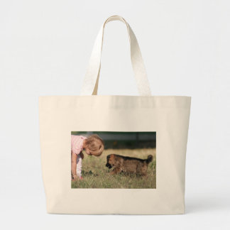 German Shepherd Puppy & Baby Grace Large Tote Bag