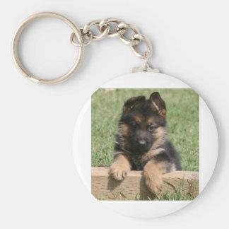 German Shepherd Puppy Basic Round Button Keychain