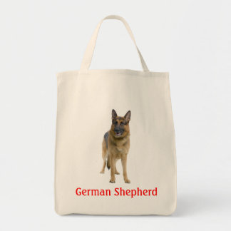 German Shepherd Puppy Dog Canvas Grocery Tote Bag