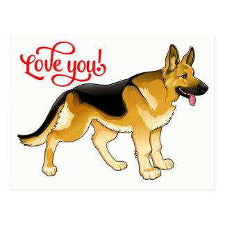German Shepherd Puppy Dog  Love, Thinking of You Postcard