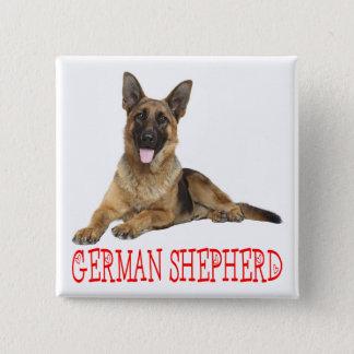 German Shepherd Puppy Dog Red Love Button Pin