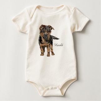 German Shepherd Puppy Drawing Baby Bodysuit