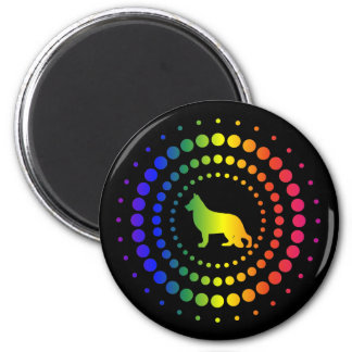 German Shepherd Rainbow Studs Magnet