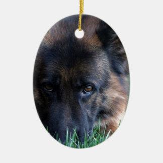 German Shepherd Randy vom Leithawald Ceramic Oval Ornament