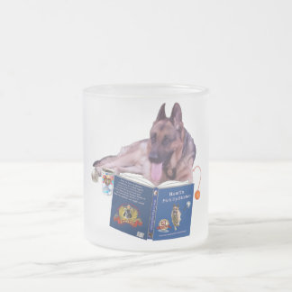 German Shepherd Reading Frosted Frosted Glass Mug