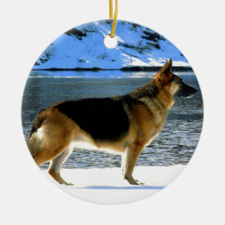 German Shepherd Round Ceramic Ornament