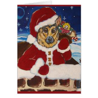 German Shepherd Santa  Card