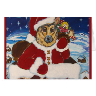 German Shepherd Santa Card
