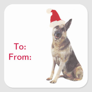German Shepherd Santa Hat Gift Tags Stickers
