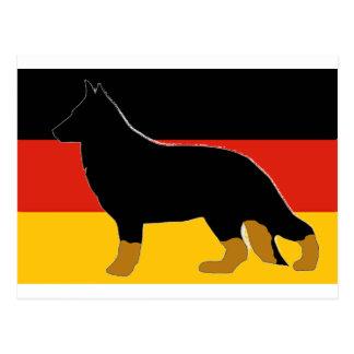 german shepherd silhouette on flag bicolor postcard