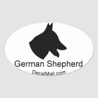 German Shepherd Silhouette Window Decal Oval Sticker