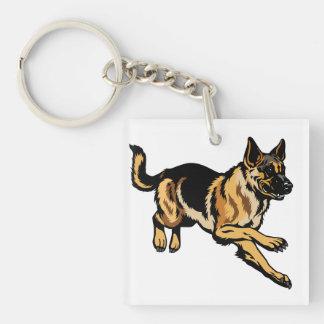 german shepherd Single-Sided square acrylic keychain
