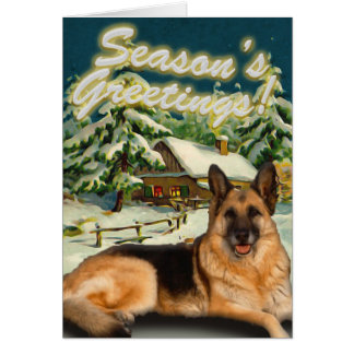 German Shepherd Snow Cabin Christmas Cards