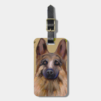 German Shepherd Soldier Art Bag Tag