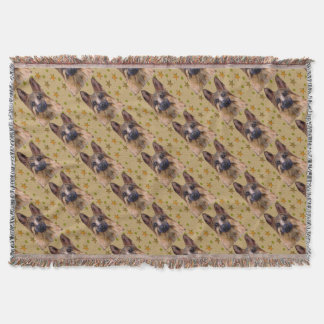 German Shepherd Soldier Art Throw Blanket