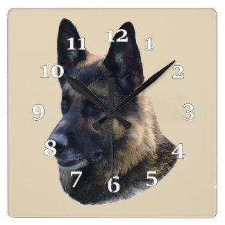 German Shepherd Square Wall Clock