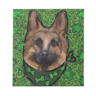 German Shepherd St. Patty Notepad