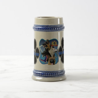 German Shepherd Thin Blue Line Beer Stein
