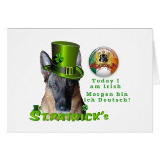 "German Shepherd ""Today I am Irish"" Card"