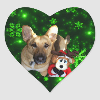 German Shepherd, Toy Reindeer, Green Snowflakes Heart Sticker
