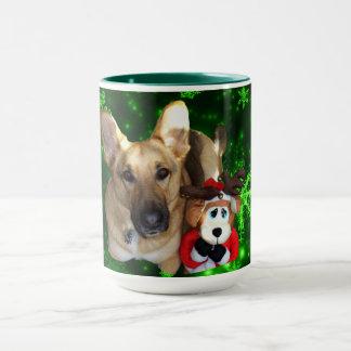 German Shepherd, Toy Reindeer, Green Snowflakes Mug