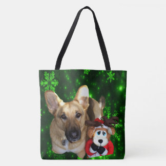 German Shepherd, Toy Reindeer, Green Snowflakes Tote Bag