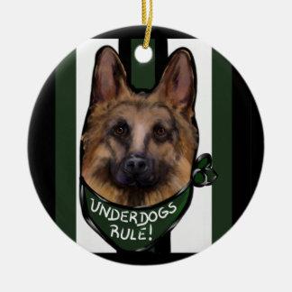 German Shepherd Underdog Ceramic Ornament