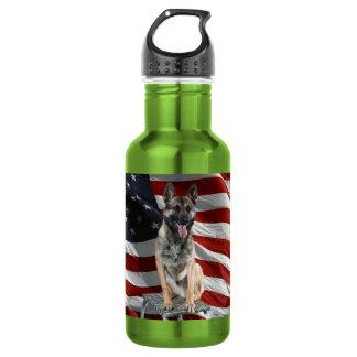 German shepherd usa - patriotic dog - usa flag 532 ml water bottle