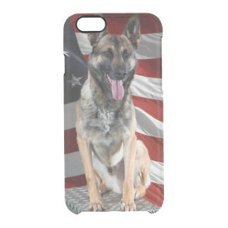 German shepherd usa - patriotic dog - usa flag clear iPhone 6/6S case