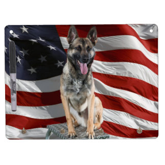 German shepherd usa - patriotic dog - usa flag dry erase board with keychain holder