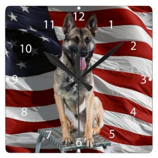 German shepherd usa - patriotic dog - usa flag square wall clock
