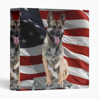 German shepherd usa - patriotic dog - usa flag vinyl binder