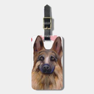 German Shepherd Valentine Luggage Tag