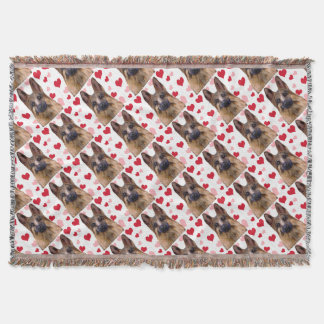 German Shepherd Valentine Throw Blanket